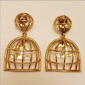 Chanel vintage birdcage earrings